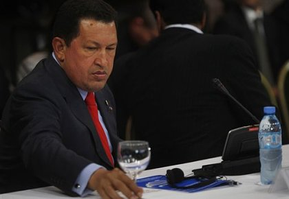 Hugo Chávez Frías, presidente de Venezuela, durante su intervención en la reunión de Unsaur en Bariloche, Argentina. (Foto: AP)
